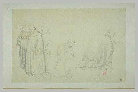 Trois moines début ; moine agenouillé ;  moine de dos agenouillé