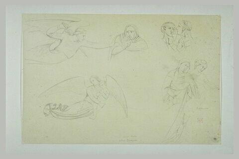 Ange et femme ; deux figures ; ange tenant un enfant ; deux femmes