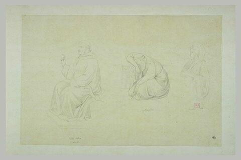 Figure assise bénissant ; homme endormi ; saint de profil