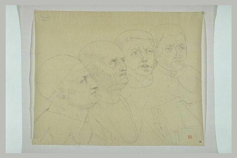 Quatre figures de religieux, à mi-corps