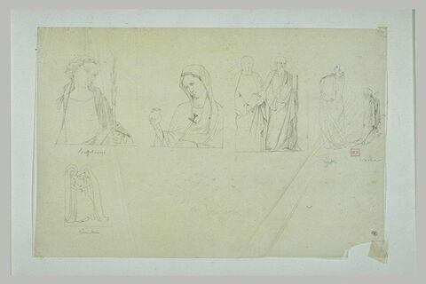 Homme en buste ; Vierge Marie ; hommes drapés ; figure de dos ; femme priant