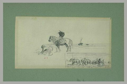 Homme fouillant le sable, et composition avec une scène de labour