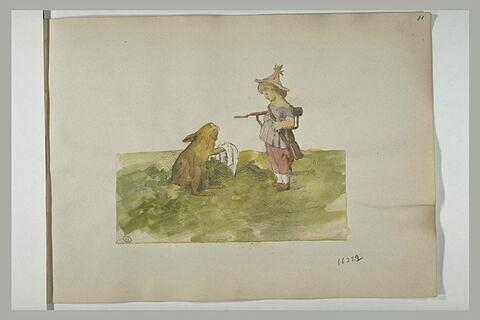 Lapin, tenant un mouchoir, demandant grâce à un jeune enfant