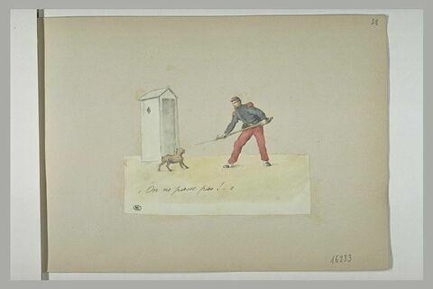 Sentinelle présentant sa bayonnette à un petit chien