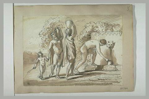 Deux femmes, un enfant et un homme près d'une fontaine