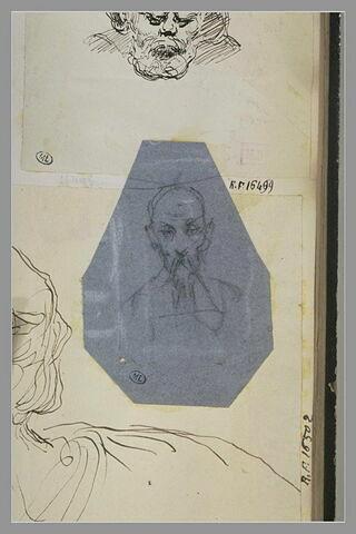 Tête d'homme, en buste, portant moustaches et barbiche