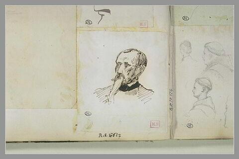 Tête d'homme, portant moustache et barbiche