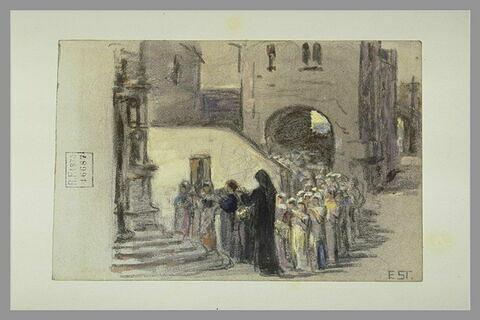 Une procession à la poterne d'une porte de ville du Moyen-Age