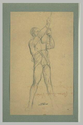 Homme, debout, de trois quarts à droite, les bras levés tirant sur une corde