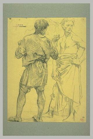 Etude de deux hommes vêtus de tuniques