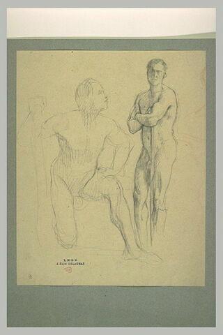 Deux hommes nus, tenant des bâtons, l'un agenouillé, l'autre debout