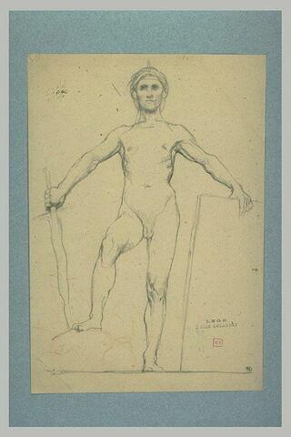 Homme nu, debout, la main gauche posée sur une dalle de marbre