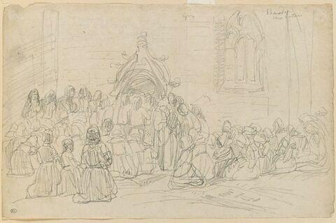 Bretons agenouillés devant la porte d'une église