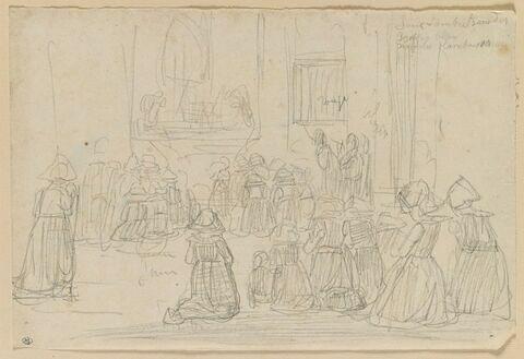 Bretonnes à genoux, de dos, dans une église à Bénodet