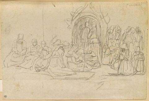 Femmes bretonnes devant une église