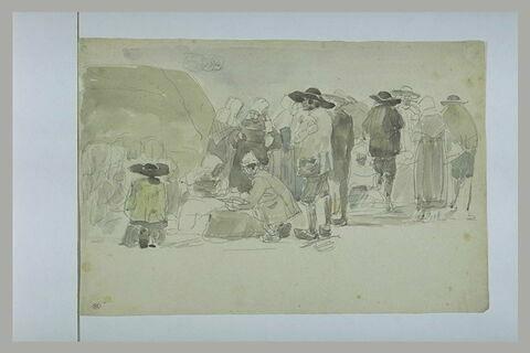 Rassemblement de paysans bretons pour une foire au lin