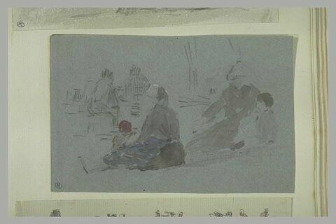 Etudes de femmes et d'enfants dont un assis par terre