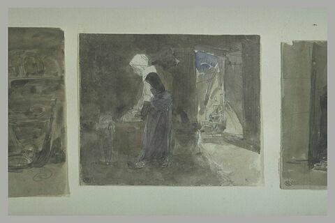 Femme posant un objet sur une huche