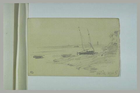 Barque échouée sur le bord d'un rivage