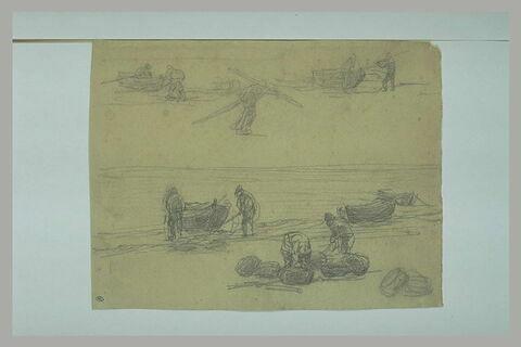 Marin sur une plage portant des rames ; pêcheurs déchargeant des barques