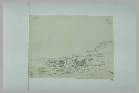 Vue de bord de mer : rangée de canots échouées sur une plage et figure