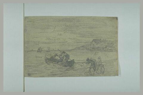 Trois hommes dans un canot, deux d'entre eux sont appuyés sur leurs rames