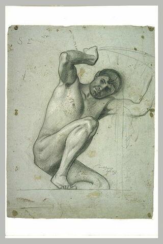 Homme accroupi, portant un fardeau