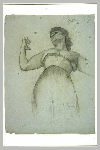 Femme en corset et jupe, vue par en-dessous