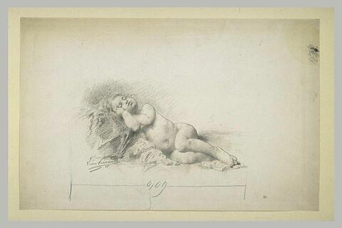Petite fille nue endormie