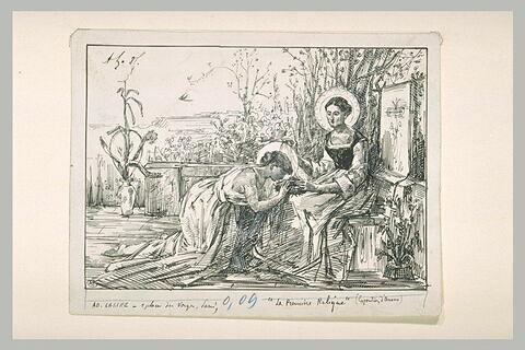 Une sainte auréolée baise la couronne d'épines que dévoile une autre sainte