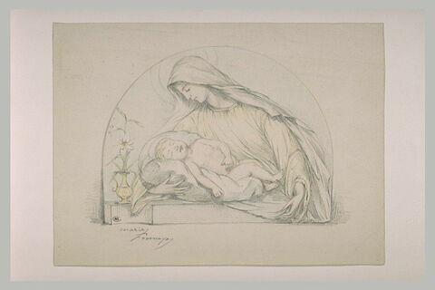 Vierge, vue à mi-corps, et l'Enfant sur un coussin