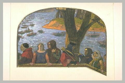 Figures médiévales à un balcon, avec des bateaux au loin