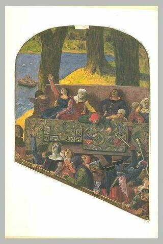 Figures médiévales occupant des balustrades en gradins, au bors d'un lac