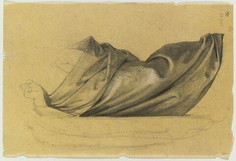 Etude de draperie pour un homme debout, à la jambe gauche flèchie