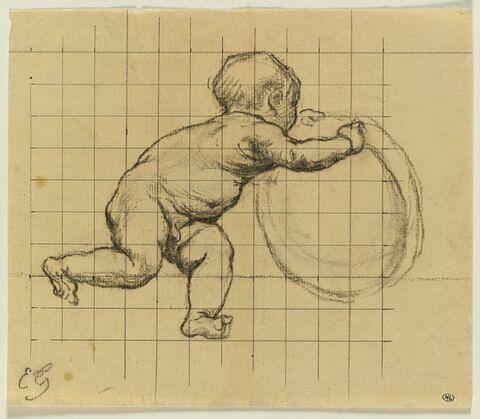 Enfant courant vers la gauche, tenant un objet rond