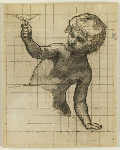 Enfant, vu à mi-corps, tenant une coupe de la main droite