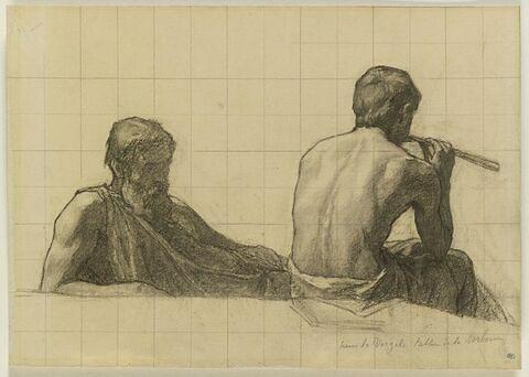 Vieillard, vu à mi-corps, assis, et homme assis, jouant de la flute