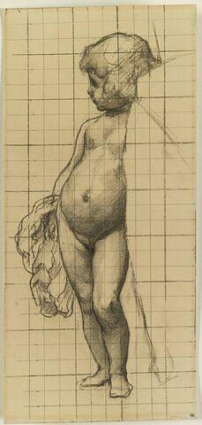 Enfant nu, debout, dont une partie du côté droit du corps est caché