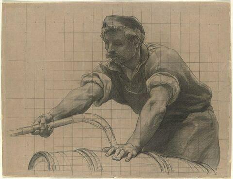 Ouvrier remplissant un fût à l'aide d'un tuyau