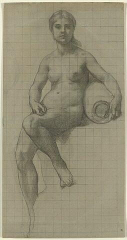 Femme nue assise, le bras gauche posé sur une urne