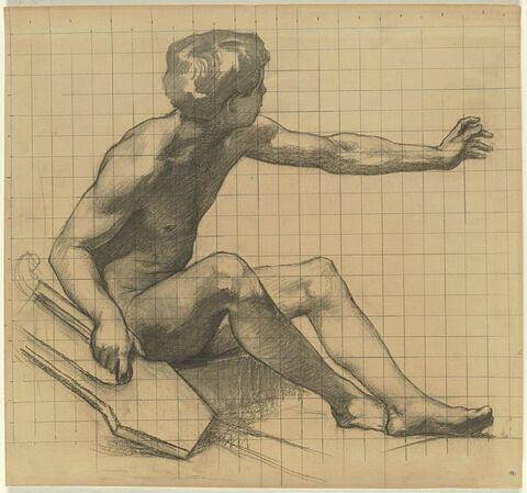 Jeune garçon, assis sur le sol, tenant une lyre