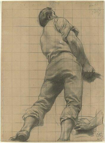 Homme vêtu, vu de dos, soulevant un objet, et étude d'une main