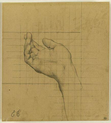 Etude de main droite présentant la paume