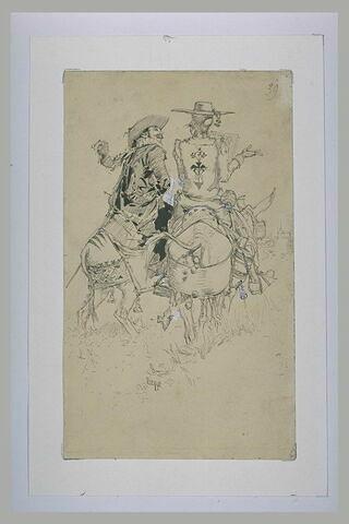 Deux hommes sur des mules et l'un deux tenant un feuillet marqué Ostende