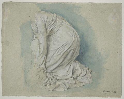 Etude de draperie pour une femme agenouillée
