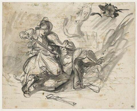 Deux orientaux combattant, un cheval près d'eux