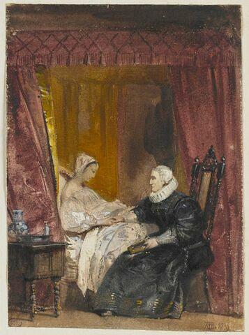Vieille femme, assise auprès d'une jeune femme alitée