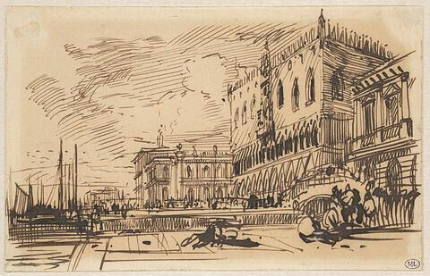 Vue de Venise avec le quai des Esclavons, le Palais des Doges, la Piazzetta