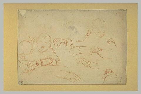 Etudes d'enfant sur sa chaise, de têtes, de bras et de mains