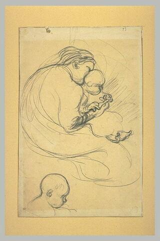 Femme assise, tenant son enfant sur les genoux, et tête d'enfant